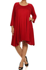 New Women's Plus Size 3/4 Sleeve Red Tunic- Top Sizes 1X 2X 3X MADE USA
