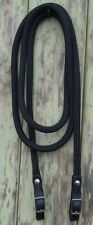 Black Leather Stainless Steel Buckled End Reins in BLACK - choice of length
