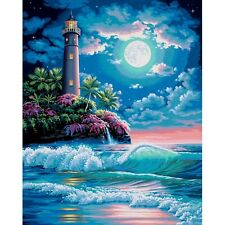 "Dimensions Paint Works Paint By Number Kit 16""X20""-Lighthouse In The Moonlight"