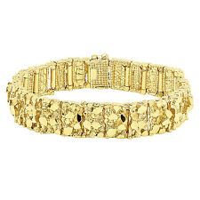 Thick 15mm 14k Gold Plated Large Chunky Nugget Textured Link Bracelet
