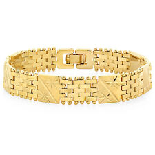 Mens/Womens 14k Gold Plated Classic Style Diamond Cut Bracelet