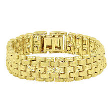Men's Thick 18mm Diamond Textured 14k Gold Plated 5 Row Panther Link Bracelet