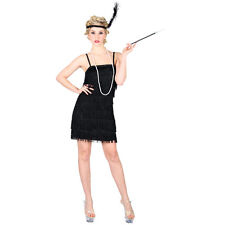 1920s Charleston Flapper Girl Black Fancy Dress Costume