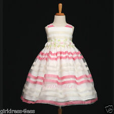 PINK STRIP EASTER PARTY WEDDING PRINCESS FLOWER GIRL DRESS 6M 9M 12M 18M 2 4 6