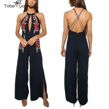 New Sexy Women Backless Rose Embroidery Jumpsuit Playsuit Wide Leg Pants Overall