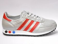 adidas LA Trainer Mens Shoe Size 7.5 to 11.5 Met Silver Red Trainer  RRP £65/-