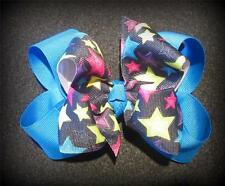 Blue Stars Pink Boutique Hair Bow Girls Big Double Layer Hairbow Pageant Party