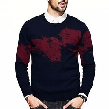 Fashion Mens 100% Cotton Printing Round Collar  Slim Pullover Sweater Blue M~2XL