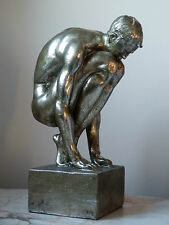 Crouching Athlete Naked Male Silver Finish Statue Ornament Decorative Figure