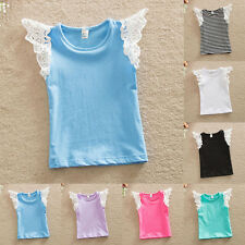 New Ruffle T-shirts Baby Girls Toddler Kids Lace Sleeveless Tank Tops Tee Blouse