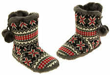 Ladies COOLERS Knitted Faux Fur Slipper Womens Slouch Boots Sizes 3 4 5 6 7 8