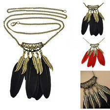 Fashion Women Retro Bronze Feather Leaf Pendant Sweater Chain Necklace Jewelry