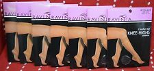 LOT 7 Pair Ravinia ONE Size Jet BLACK Knee Highs Sandalfoot COMFORT TOP NEW