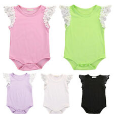 Newborn Baby Girls Romper Lace Sleeves Bodysuit Jumpsuit Toddler Clothes Outfit