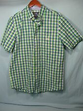 NWT Chaps Blue , White , and Green Check Short Sleeve Men's Button Down Shirt