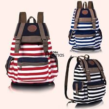 Women Unisex Backpack Canvas Stripe Leisure Bags School Bag Shoulder Bag AN18