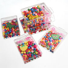 DIY Kids Mixed Colorful Oblate Small Wood Beads Plastic Box Fit Bracelet Making