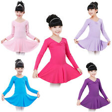 Kid Girls Gymnastics Dance Ballet Leotard Dress Long Sleeve Skirt Tutu Dancewear