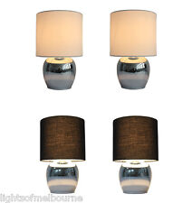 Chrome Touch Table Lamp Bedside Lamp w Black/White Shade