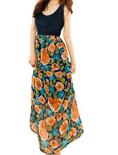 Ladies Scoop Neck Sleeveless Floral Printed Chiffon Maxi Dress