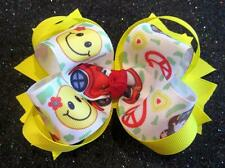 Groovy Girl 60s 70s Boutique Hair Bow Hairbow Baby Girls Smiley Face Yellow Bows