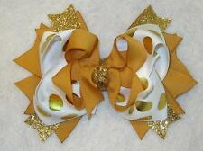 Gold Hair Bow, Gold Hairbow, Boutique Hair Bow, Gold Glitter Bow, Girls Hairbows
