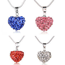 925 Fashion Women Silver Heart Pendant Necklace Long Chain New Jewelry