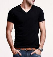 Elastic Mens T-Shirt Cotton V-Neck Slim Fitted Basic Tee 6 Colors S to XXL Size