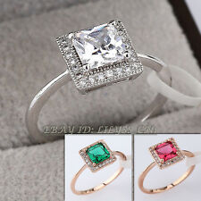 Fashion CZ Micro Inlays Solitaire Ring 18KGP Rhinestone Crystal Size 5.5,8