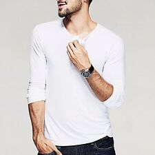 Handsome Mens Henley T-shirt Simple Long Sleeve Fitted Basic Tee 12 Colors M~2XL