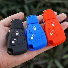 Rubber Key Fob Case Cover For Mercedes Benz B C E ML S CLK CL Two 2 buttons key