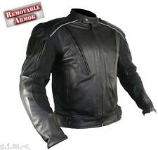 B9119 XL Mens Cowhide Leather Reflective Armored Padded Black Motorcycle Jacket