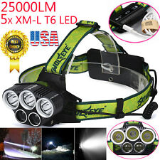 25000LM 5x XM-L T6 LED Headlamp Headlight Flashlight+2X18650+Charger US Stock