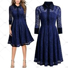 MIUSOL Women Vintage 1950's Floral Lace Evening Party Casual Work Pleated Dress