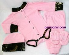 PINK & MOSSY OAK CAMO 4PC BABY INFANT SNAP UP DIAPER SHIRT GIFT SET - GIRL