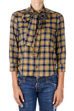 DSQUARED2 Dsquared² New Woman Cotton Checked Yellow Leather Details Shirt Italy