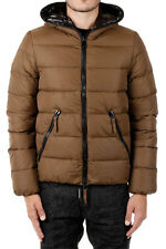DUVETICA New Men brown Dionisio Hooded Zipped Nylon Down Padded Jacket Coat NWT