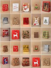 PACK OF 5, 10, 15, 20 ASSORTED SMALL CHRISTMAS XMAS GIFT BAGS: KRAFT & GLOSSY