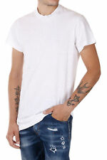 DSQUARED2 New Men White Round Neck Tee T-shirt cottone Jersey Made Italy NWT
