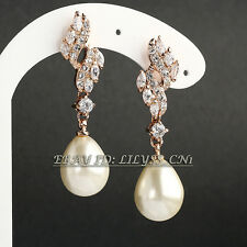 Fashion White Pearl Drop Dangle Earrings 18KGP Rhinestone Crystal