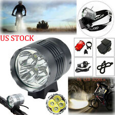 US 2 IN 1 5200LM 4X CREE XML T6 LED Front Bicycle Light Headlamp+Battery+Charger