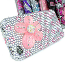 Pink Silver Flowers Zebra Bling Diamond Hard Case Cover Apple iPhone 4 4S 4G