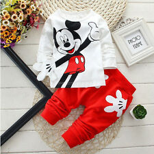 2PCS Baby Boys Toddler Mickey Mouse Tops T-shirt +Long Pants Kids Clothes Outfit