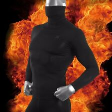 Mens Turtle Neck Thermal Underwear UnderShirt Base Layer Long Sleeve Black HOM