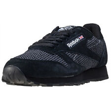 Reebok Classic Leather Knit Mens Trainers Black White New Shoes