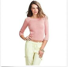 GUESS by Marciano Blanche Sweater Cropped Top Knit Long Sleeve Pink  Size L