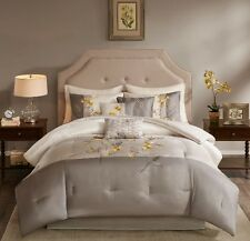 Beautiful Grey Embroidered Floral Cal King Queen 7 pcs Comforter Set Bedding