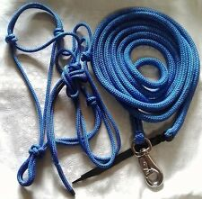Rope Halter & 8ft Lead w Bull Snap - Choice of Halter Size - Colour Blue/Purple