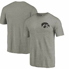 Fanatics Branded Iowa Hawkeyes Gray Left Chest Distressed Logo Tri-Blend T-Shirt