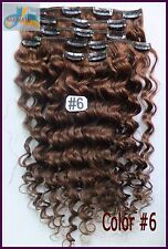 180g 8PCS Curly Wavy Weaving Clip In 100%Real Human Hair Extensions Medium Brown